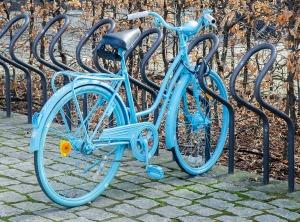 blå sykkel